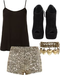 black top, trendy shorts, with wedges! Perfect outfit for a night out on the town!
