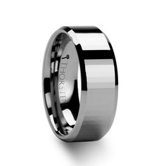 8mm TURIN Beveled Edge Tungsten Ring with Narrow Rectangular Facets