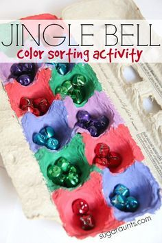 Jingle bell color sorting activity for a quiet time or busy bag task for kids this Christmas season. Perfect for fine motor skills, specifically in-hand manipulation; color matching, early math skills.