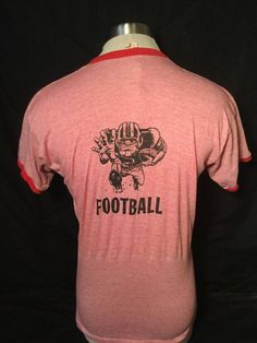 Vintage 1970's Russell Tri-Blend Ringer Rayon T-Shirt Football by 413productions on Etsy