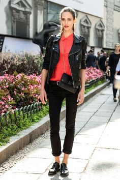 total black with red shirt - black leather jacket - black brogues