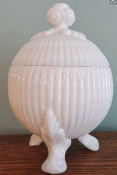 Westmoreland Milk Glass Covered Footed Candy Bowl