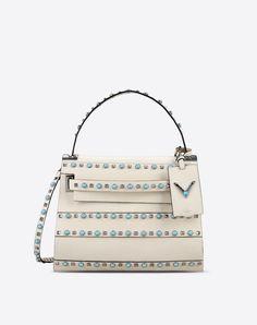 Studs Bag handle Logo Contrasting applications Textured leather Solid color Magnetic closure Internal zip pocket  Women 45299081HN