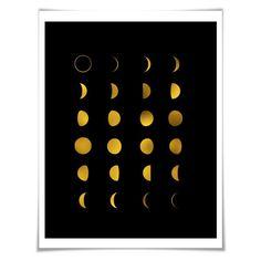 Moon Phases Gold Foil Art Print. 36 Background Colours/3 Sizes. Space Art Print. Lunar Art. Astronomy Art Print.