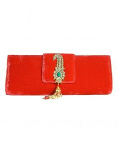 Buy Online Hot red clutch by Falah - 2014