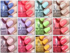 The PolishAholic: China Glaze Spring 2014 City Flourish Collection Swatches Nail Polish Art, Nail Polish Designs, Nail Polish Colors, Essie Colors, Nail Polishes, Fancy Nails, Love Nails, How To Do Nails, Pink Nails