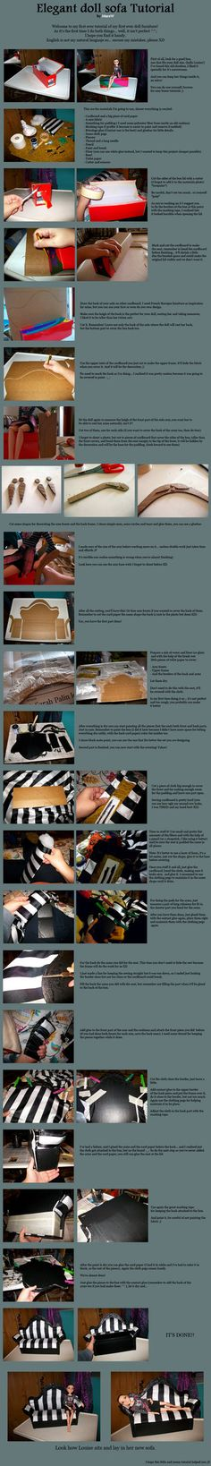 Elegant doll sofa tutorial by MarsW. Found this in a site I like. However those of you that do may find it interesting and something cool to do. The blonde in pic. Monster High Dollhouse, Monster High House, Monster High Dolls, Cardboard Dollhouse, Diy Dollhouse, Dollhouse Miniatures, Barbie Doll House, Barbie Dolls, Dollhouse Tutorials