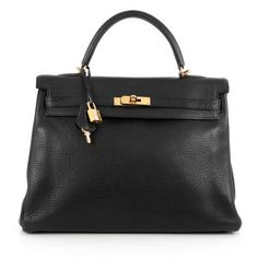Hermès Kelly Handbag Black Clemence with Gold Hardware 35 || $9,590