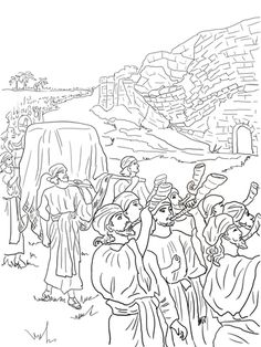 Joshua And The Fall Of Jericho Coloring Page From Category Select 20946 Printable Kids Bible CraftsBible