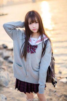 Stefki created image by School Girl Japan, School Uniform Girls, Japan Girl, Beautiful Japanese Girl, Beautiful Asian Women, Cute Asian Girls, Cute Girls, Kawai Japan, Cute Kawaii Girl