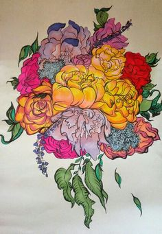 A Bouquet for Sharon. Marker/Brush Pen