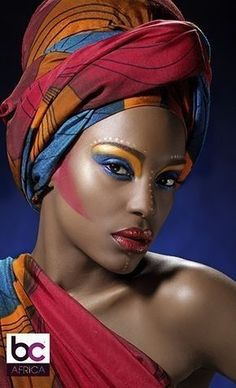 This Headwrap African super wax fabric is a great way to bring a cultural flavor to any outfit! It helps African women become more confident when going out! African Tribal Makeup, Tribal Face, African Beauty, African Women, African Fashion, African Style, Black Girl Art, Black Women Art, Beautiful Black Women