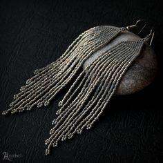 Grey sparkle earrings Gray beaded earrings Long seed bead earrings Sparkly fringe earring Long dangle earring Silver beaded fringe earrings