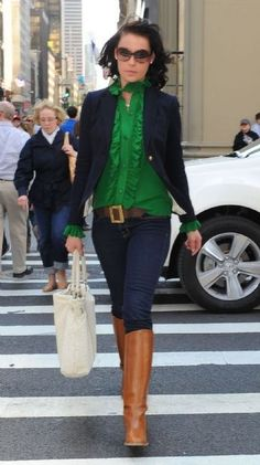 Green top, navy blazer, boots