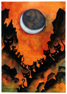 Halloween Cats - Art by Lisis Halloween Chat Noir, Theme Halloween, Halloween Pictures, Holidays Halloween, Spooky Halloween, Vintage Halloween, Halloween Halloween, Halloween Artwork, Samhain