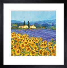 Lavender and Sunflowers, Provence Art Print by Hazel Barker - WorldGallery.co.uk
