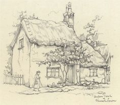 Pencil Sketch Drawing, Pencil Art Drawings, Easy Drawings, Art Sketches, Landscape Sketch, Landscape Drawings, Anton Pieck, Watercolor Architecture, House Drawing