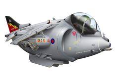 Cartoon illustration d'un avion à réaction Royal Air Force Harrier. Wall Art & amp; Toiles par Anonymous