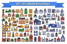 Set of urban buildings by alexzel on Creative Market