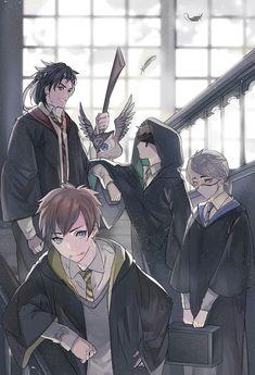 Identity v en Hogwarts by Inkla_Kirisame V Cute, Cute Art, Manga Anime, Anime Art, Harry Potter Drawings, Identity Art, Personal Identity, Cartoon Characters, Character Art