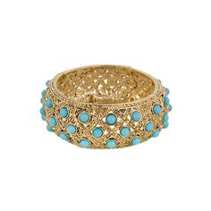 Gold Bangle with Turquoise Stones.