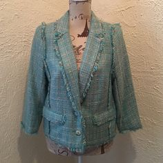"""NWOT Michael Michael Kors Tweed Jacket Size 10 Michael Michael Kors Designer Tweed jacket. Blue, Beige and Metallic threading with fringed trim. 2 faux pockets and 2 button closure. 81% Acrylic, 18% polyester and 1% metallic. Length is 20.5 """" Sleeves are 18.5"""" long. Jacket is NWOT. No defects. #michaelkors #blazer #jacket #tweed MICHAEL Michael Kors Jackets & Coats Blazers"""