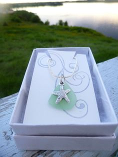 Seaglass Starfish Necklace on 18 Silver Plated by BeachBumsLife #starfish #seaglass #necklace #jewelry #etsy #maine #maineteam #seaglassjewelry