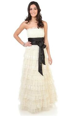 strapless lace prom dress with multi tiered skirt  Possible Prom Dress!!!!