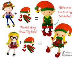 Elf Doll Clothes Sewing Pattern PDF DIY Dress by DollsAndDaydreams---Purchase Clothing Pattern and make a regular doll into a cute elf!