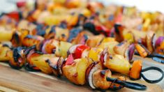This is an easy grilling recipe for Spicy Pineapple Chicken Kabobs. The chicken is marinated in a sweet pineapple marinade and the kabobs are brushed with a spicy pineapple sauce during grilling. Grilled Fish Recipes, Grilling Recipes, Cooking Recipes, Kabob Recipes, Easy Cooking, Pineapple Chicken Kabobs, Chicken Skewers, Pineapple Sauce, Bbq Chicken