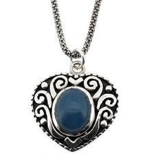 Purple Leopard Boutique - Blue Chalcedony .925 Sterling Silver Heart Pendant Antiqued Necklace Jewelry, $46.00 (http://www.purpleleopardboutique.com/blue-chalcedony-925-sterling-silver-heart-pendant-antiqued-necklace-jewelry/)