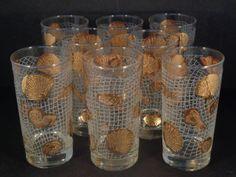 Barware Collection - LIBBEY - GOLD SEASHELL - HIGHBALL GLASSES