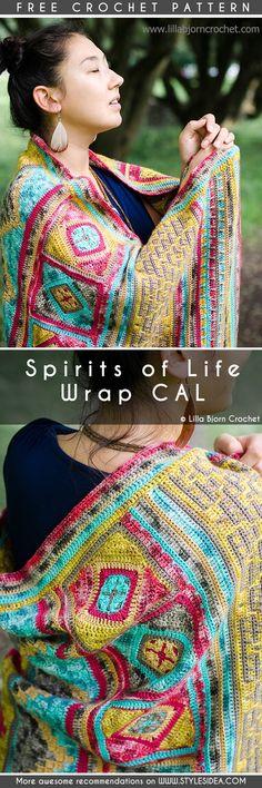 Spirits of Life Shawl Wrap Crochet CAL Free Pattern #crochetscarf #crochetwrap #crochetfreepatterns #crochetshawl #freecrochetpatternsforshawl