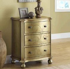 Amazon.com: Monarch Specialties Transitional 3-Drawer Bombay Chest, Golden: Furniture & Decor