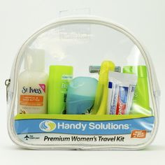 Handy Solutions Premium Women's Kit. Brings Garnier Fructis shampoo and conditioner, body wash, deodorant, toothpaste, toothbrush and razor. Perfect for charities, churches and nonprofits. Bulk wholesale products for nonprofits.
