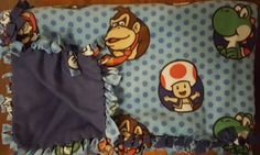 Nintendo Characters (2yd) Handmade Fleece Blanket by KnotMyStyleBoutique on Etsy