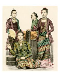 Women of Burma in Traditional Dress, 1800s Giclee Print