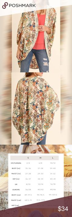 UMGEE Floral Print Kimono Cardigan NWT This kimono features an open front, lace detail, and a beautiful pattern. Care instructions: hand wash cold, water separately, color will bleed, no bleach, hang to dry. Umgee Sweaters Cardigans