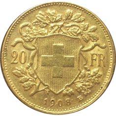 Moneda de oro 20 francos Suiza Helvetia.