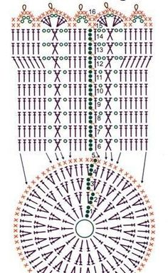 Crochet Diagram, Crochet Chart, Crochet Motif, Crochet Designs, Crochet Doilies, Crochet Flowers, Crochet Patterns, Clutch En Crochet, Crochet Pouch