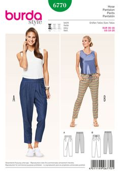 jogging-pants, hip and trendy and wonderfully comfortable. either casual or suited for the city. note the pleat at one side of variant a, which adds more volume for the ease of movement.