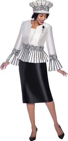 Terramina 7819 is a Ladies' 3 Piece Skirt Suit with a Striped Peplum Jacket and Bell Sleeves. Church Dresses, Dresses For Work, Black Skirt Suit, Fall Floral Dress, Classy Suits, Women Church Suits, Suit Fashion, Diva Fashion, Fashion Dresses