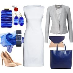 Autumn, be inspired, bering woman watch, blue, blue shopper, business attire, confidence, earring, earrings, fashion, gray, gray jacket, jewellery, less warm days, little white dress, modern jewellery, nude, nude high heels, nude pumps, ootd, pendant, Red Point Tailor, style, unleash your creativity, white, women in business, womenwhowork