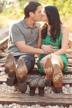 Write the year and month you were born, the expecting year and month of your baby. :) But instead of cowboy boots.... CHUCKS. ❤❤