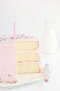 Love, Cake & Sprinkles via Sweetapolita: Vanilla bean Layer Cake Recipe --good for covering with fondant, too