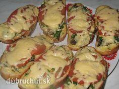 Zapekaný chlebík - Suroviny podľa chuti naukladáme na chlebík a dáme zapiecť do vyhriatej rúry alebo ohrejeme v mirkovlnke. Baked Potato, Sushi, Sandwiches, Recipies, Beverages, Pizza, Bread, Snacks, Cooking