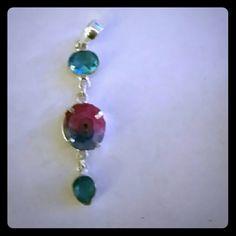 Druzy and blue topaz set sterling silver pendant Druzy and blue topaz pendant set in sterling silver myriad Design  Jewelry Necklaces