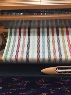 A striped warp to use up odds and ends of coordinating cotton. Could use any structure. Weaving Textiles, Weaving Patterns, Tapestry Weaving, Textile Patterns, Weaving Tools, Weaving Projects, Loom Weaving, Hand Weaving, Leclerc Looms