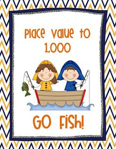 Place Value to 1,000 Go Fish game! Super cute graphics!