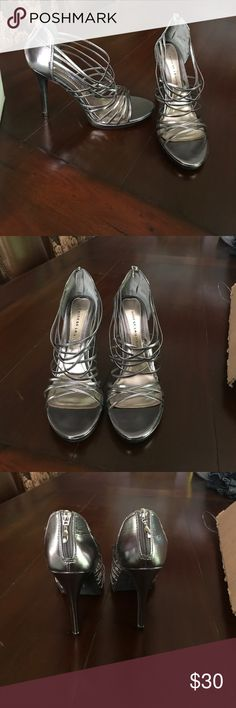 NWT Silver heels size 11 Still in the box! Never worn size women's 11. Zipper on the back. Chinese Laundry Shoes Heels